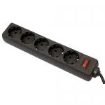 Сетевой фильтр Defender ES, 5 розеток, 1.8м, Black